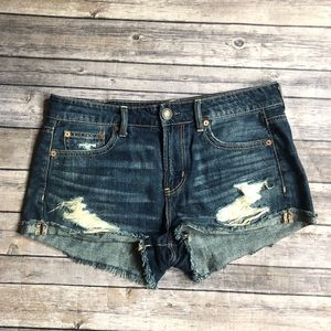 American Eagle 4 Tomgirl Shortie Distressed Shorts